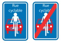 Panneaux rue cyclable